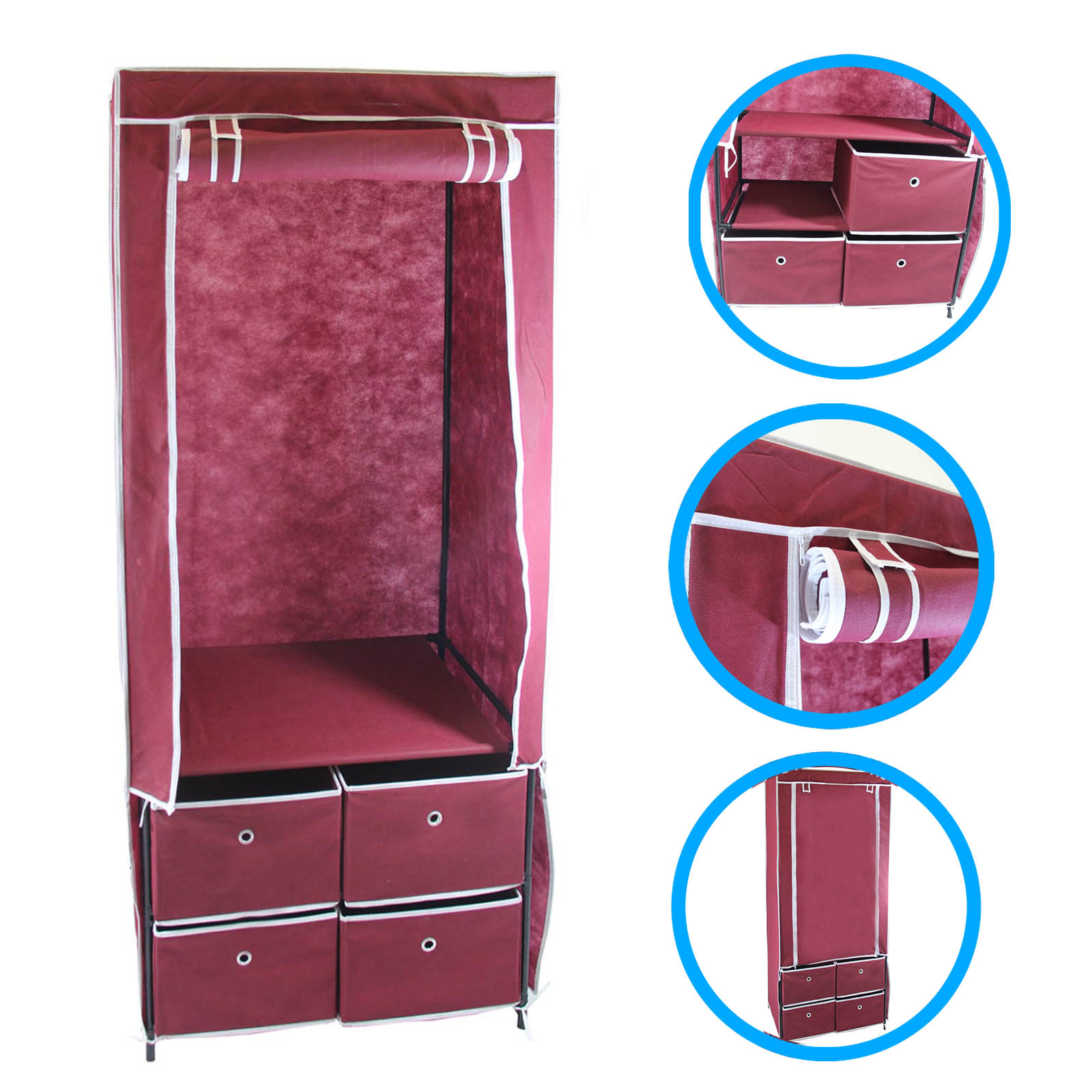 "Clevr 70"" Portable Clothes Space Organizer Wardrobe Dresser Closet w/ Drawers Shelves"