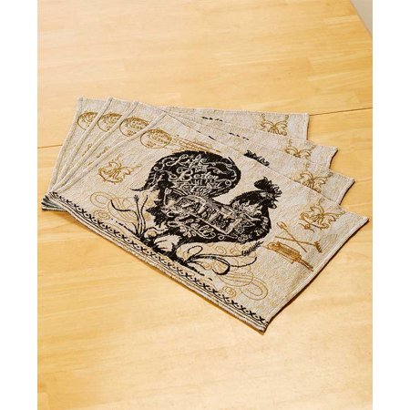 Set of 4 Agrarian Rooster Tapestry Placemats -
