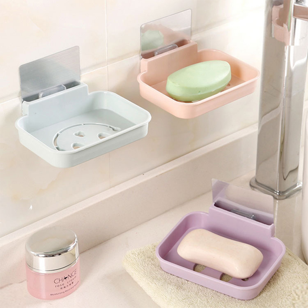 Moderna Seamless Pasting Wall-mounted Hollow Smile Face Soap Box Holder Dish Bathroom