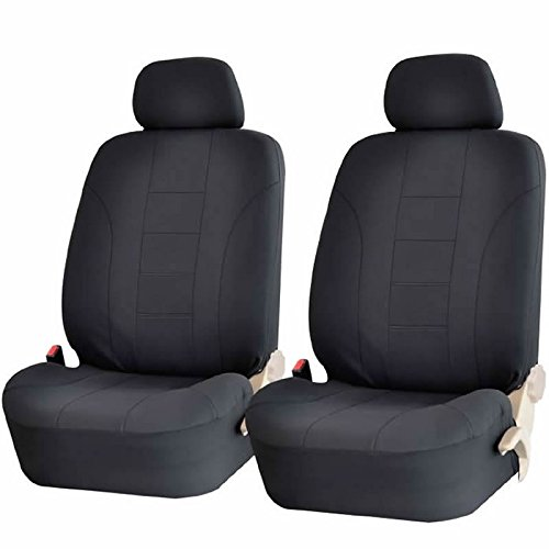 4PC ALL BLACK DBL STICH POLYESTER FRONT CAR SEAT COVERS SET UNIVERSAL