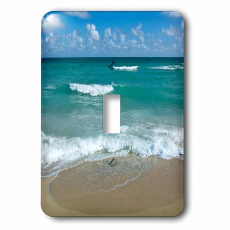 3dRose Miami Beach sand sandy wave ocean water summer holiday vacation tropical blue tranquility serenity, Single Toggle