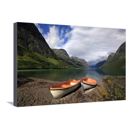 Boats Pulled Up by a Fjord, Songdal Region, Near Bergen, Western Norway, Scandinavia, Europe Stretched Canvas Print Wall Art By David (Best Fjords Near Bergen)