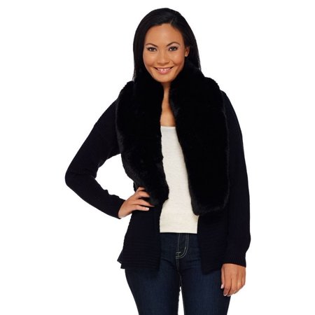Halston Silk-Cashmere Cardigan Faux Fur Collar - Silk And Cashmere Ribbed Cardigan