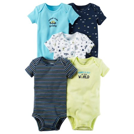 Carters Baby Boys 5-Pack Short-Sleeve Original Bodysuits Outer Space Multi