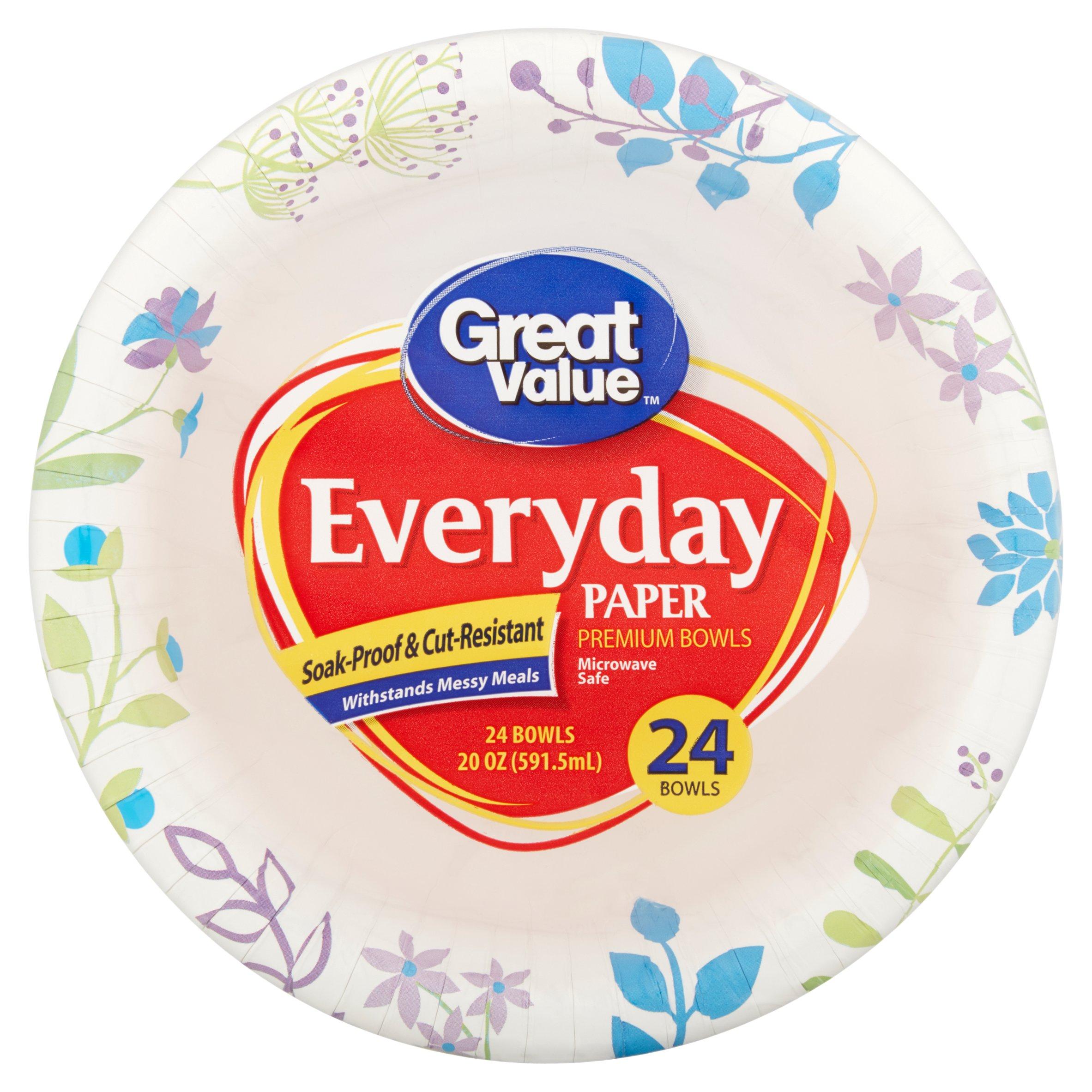 Great Value Ultra Maximum Strength 20 oz Paper Bowls, 24 ct