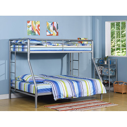 Dorel Twin over Full Metal Silver Bunk Bed with Set of 2