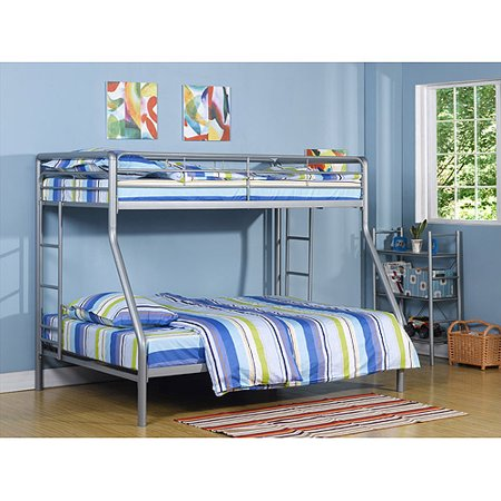 Dorel Twin over Full Metal Silver Bunk Bed with Set of 2 Mattresses