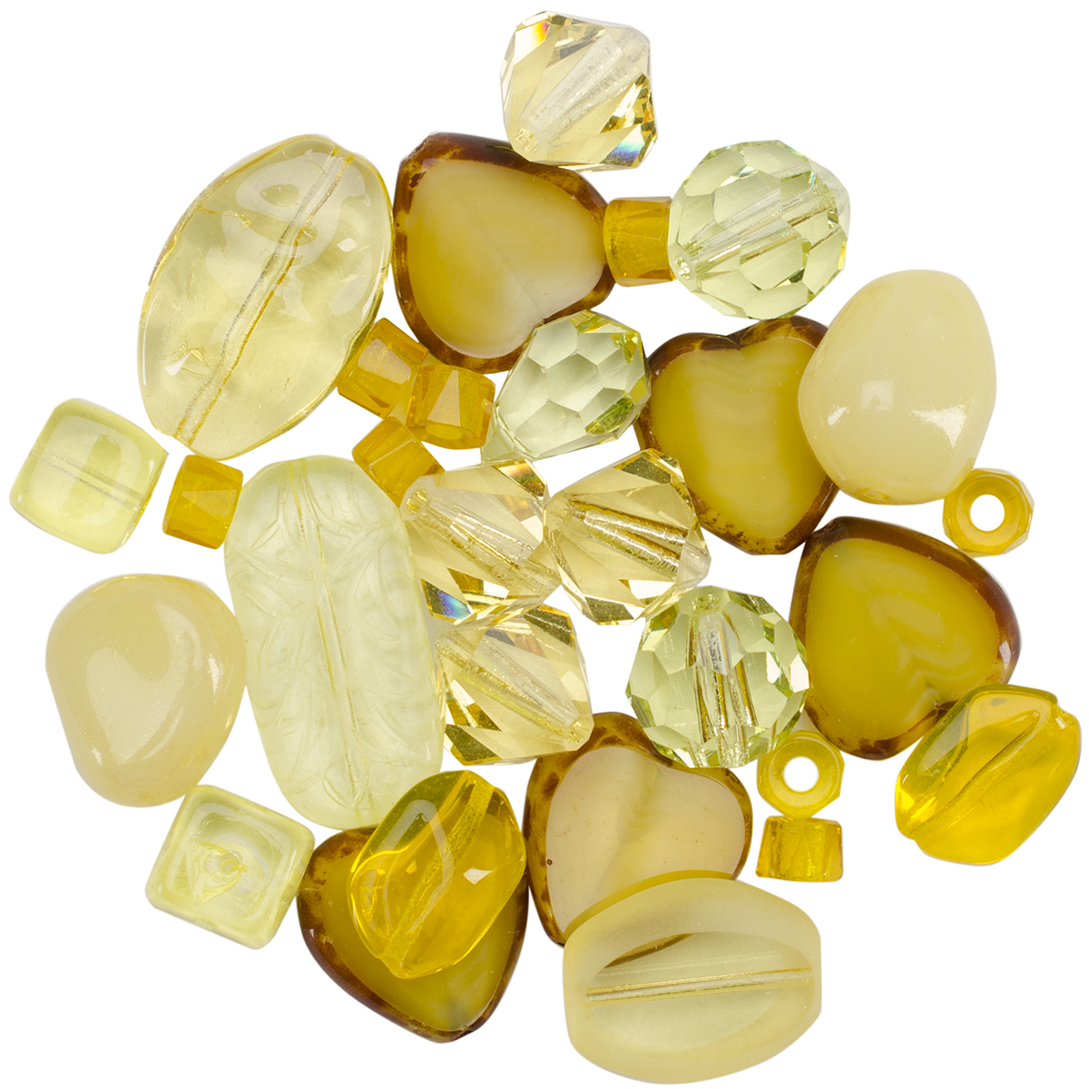 Square Tube Glass Beads 2oz-Sweep Yellow Mix