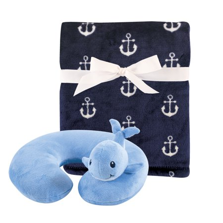 Hudson Baby Boy and Girl Travel Neck Support Pillow and Blanket Set, 2 Piece, Whale