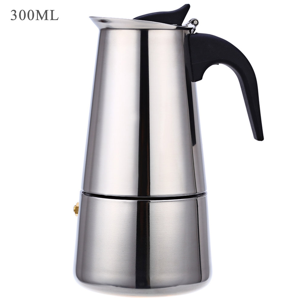 6 Cups 300ML Stainless Steel Mocha Espresso Latte Percolator Coffee Maker Pot for home office use by