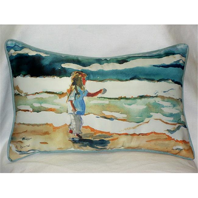 Betsy Drake HJ602 Girl at the Beach Art Only Pillow 15''x22''