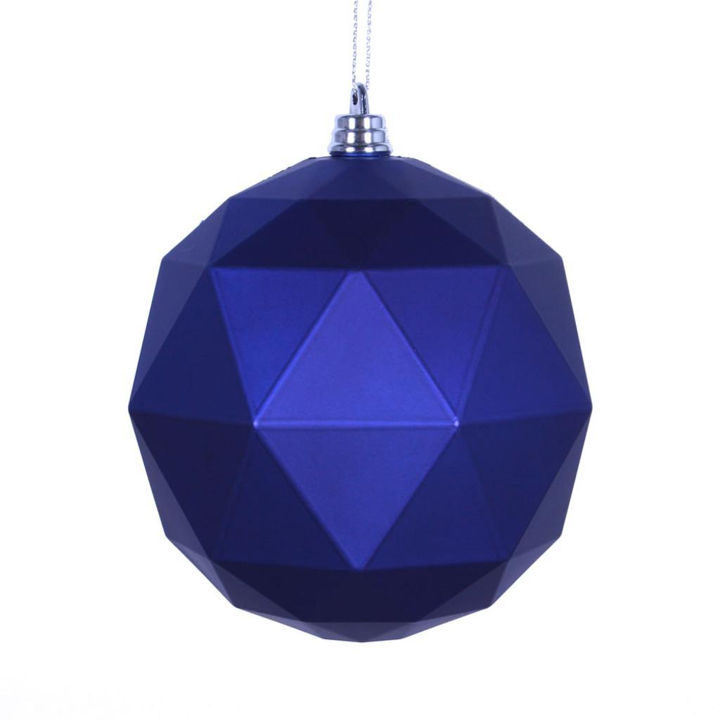 "Vickerman 468203 - 6"" Cobalt Blue Matte Geometric Ball Christmas Tree Ornament (4 pack) (M177422DM)"