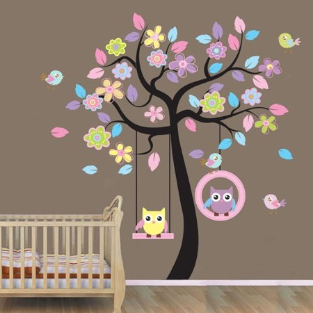 Animals Tree Owl Removable Wall Decal Sticker Kid Baby Nursery Room Wall Vinyl (Giraffe Nursery Decor)