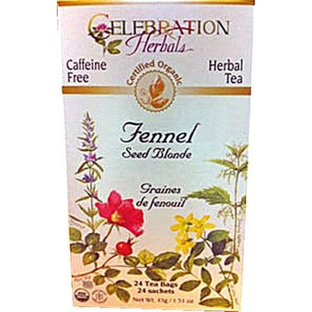 Celebration Herbals Fenouil Organic Seed Blonde Thé sans Caféine 24 sachets de thé à base de plantes