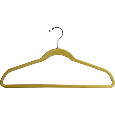 Beige Velvet Ultra Thin Slimline Hanger with Fixed Bar, Space Saving Flocked Suit Hangers with Chrome Hook (Set of 25) by International (Real Simple Slimline Hangers With Built In Hooks)