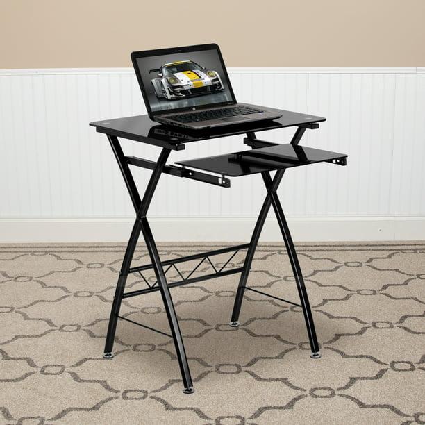 Black Tempered Glass Computer Desk, Flash Furniture Black Glass Computer Desk With Pull Out Keyboard Tray