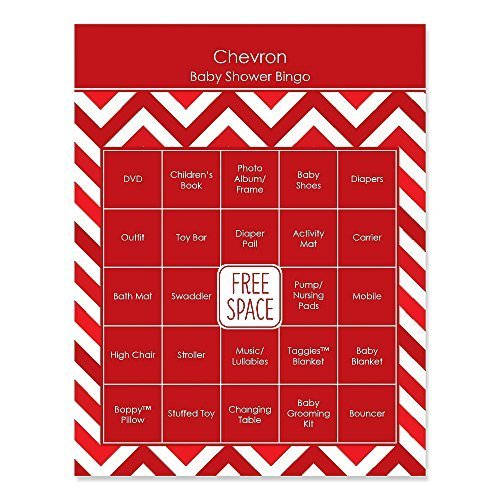 Chevron Red - Baby Shower Game Bingo Cards - 16 Count