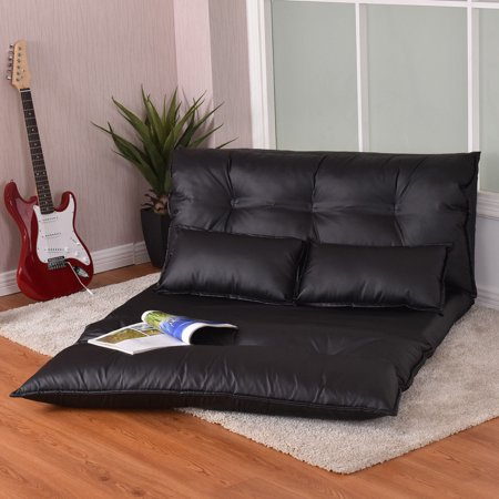 Costway Pu Leather Foldable Modern Leisure Floor Sofa Bed Video Gaming 2 Pillows Black