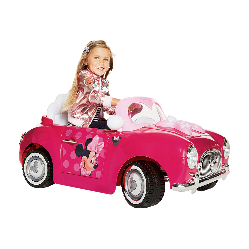 Disney Minnie Mouse Girls' 6-Volt Pink Electric Ride-On Car, by Huffy