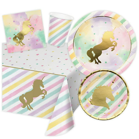 Unicorn Themed Birthday Party Supplies, Serves 16 Guests (Unicorn Birthday Supplies)