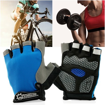 GEARONIC TM Cycling half Finger Mountain Bicycle Men Women Gel Pad Anti-slip Breathable Outdoor Sports Shock-absorbing Riding Biking Cycle Gloves - Blue L ...