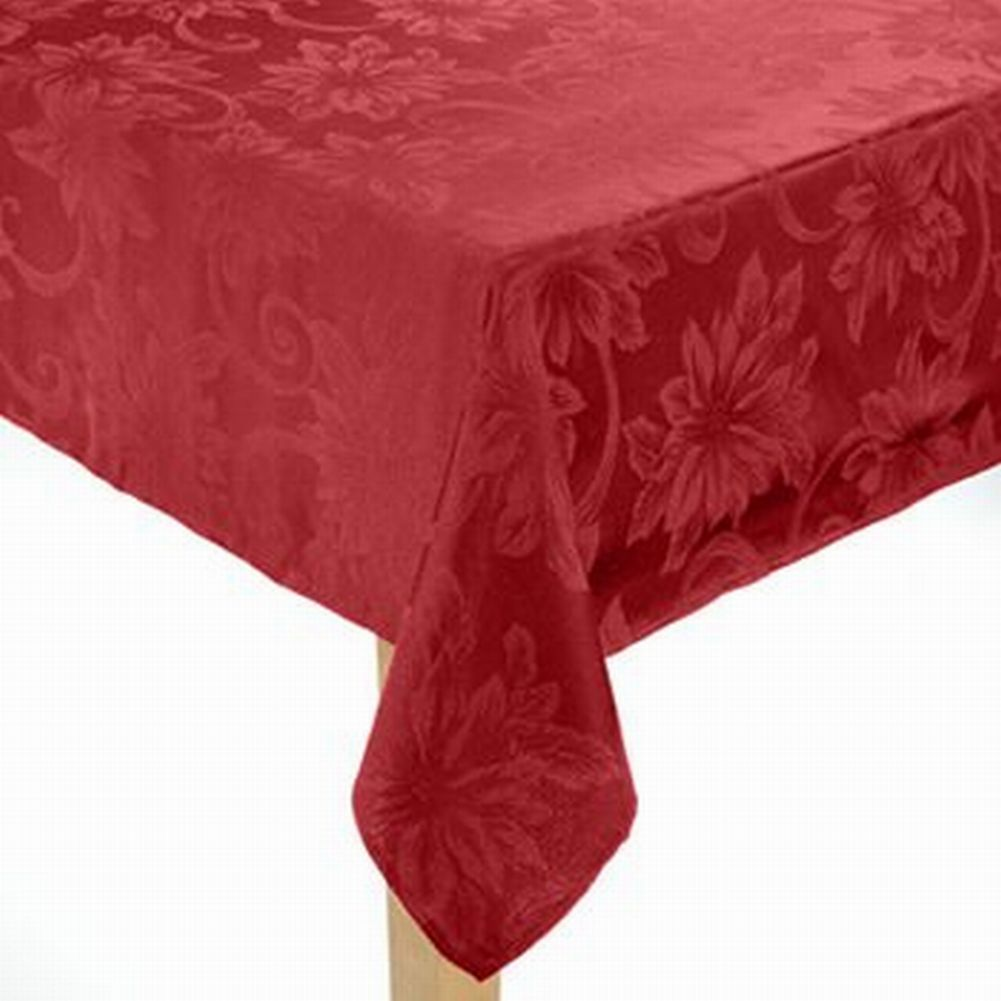 St Nicholas Square Rich Red Poinsettia Tablecloth Fabric Table Cloth 90  Round   Walmart.com
