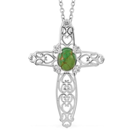 """Cross Chain Pendant Necklace Oval Green Turquoise Stainless Steel Gift Jewelry for Women Size 20"""""""
