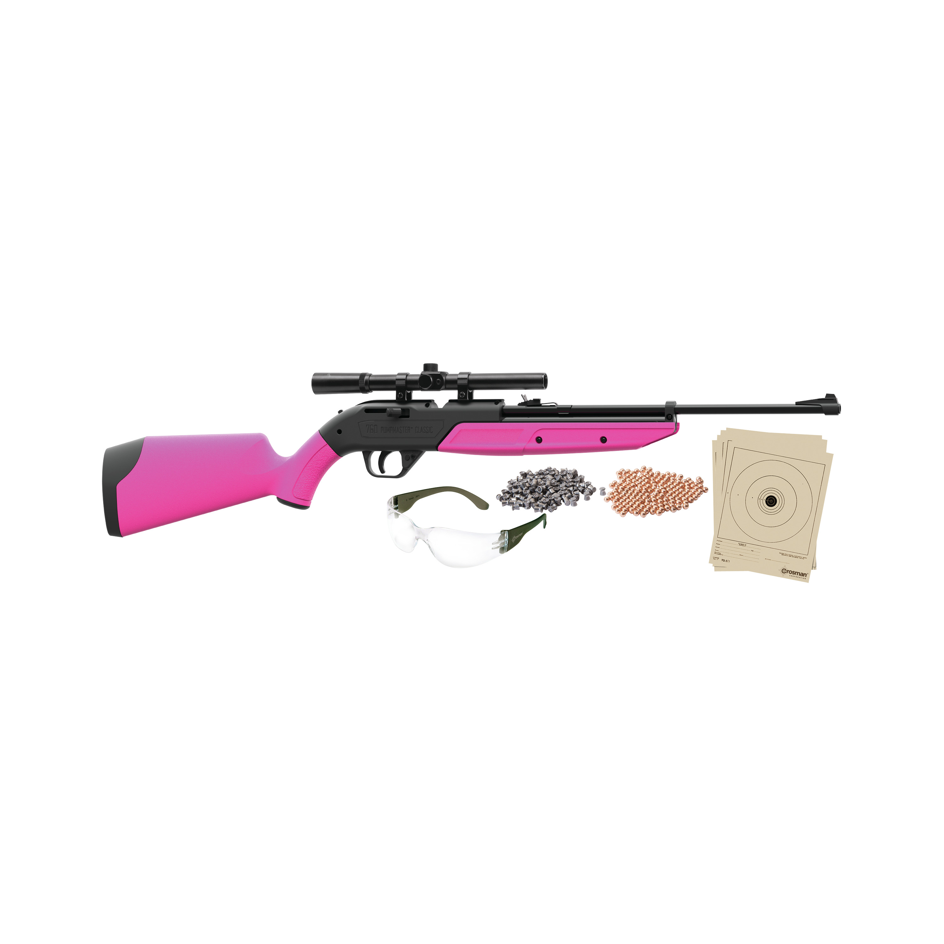 Crosman 760 Pink Pumpmaster 177 Caliber Air Rifle with Scope, Ammo, glasses and targets, 760PKT