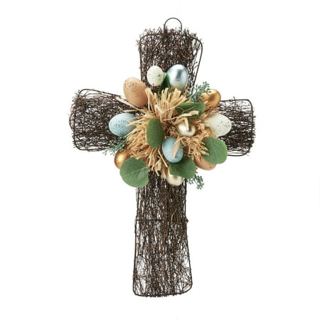 Easter Egg Wreath - Way To Celebrate Easter Cross Wreath with Speckled Eggs