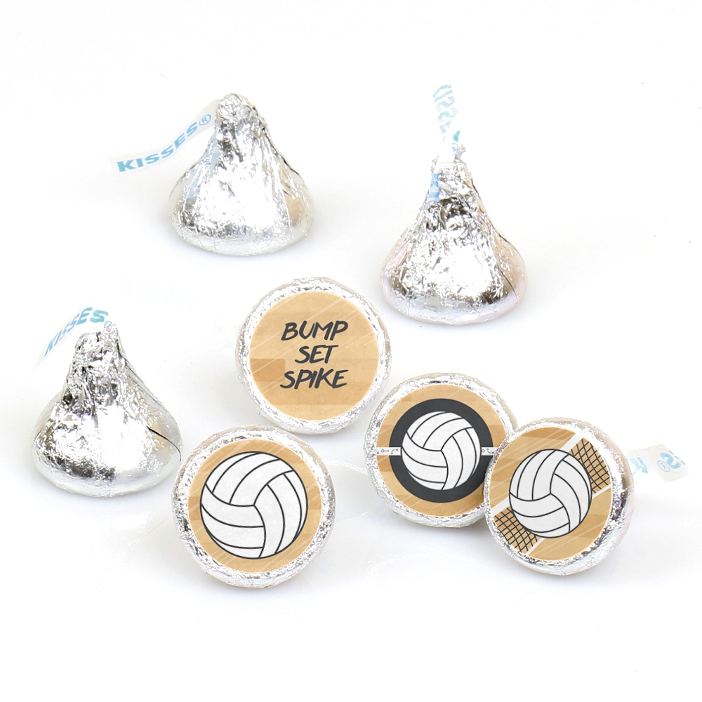 Bump, Set, Spike - Round Candy Volleyball Sticker Favors - Labels Fit Hershey's Kisses (1 sheet of 108)