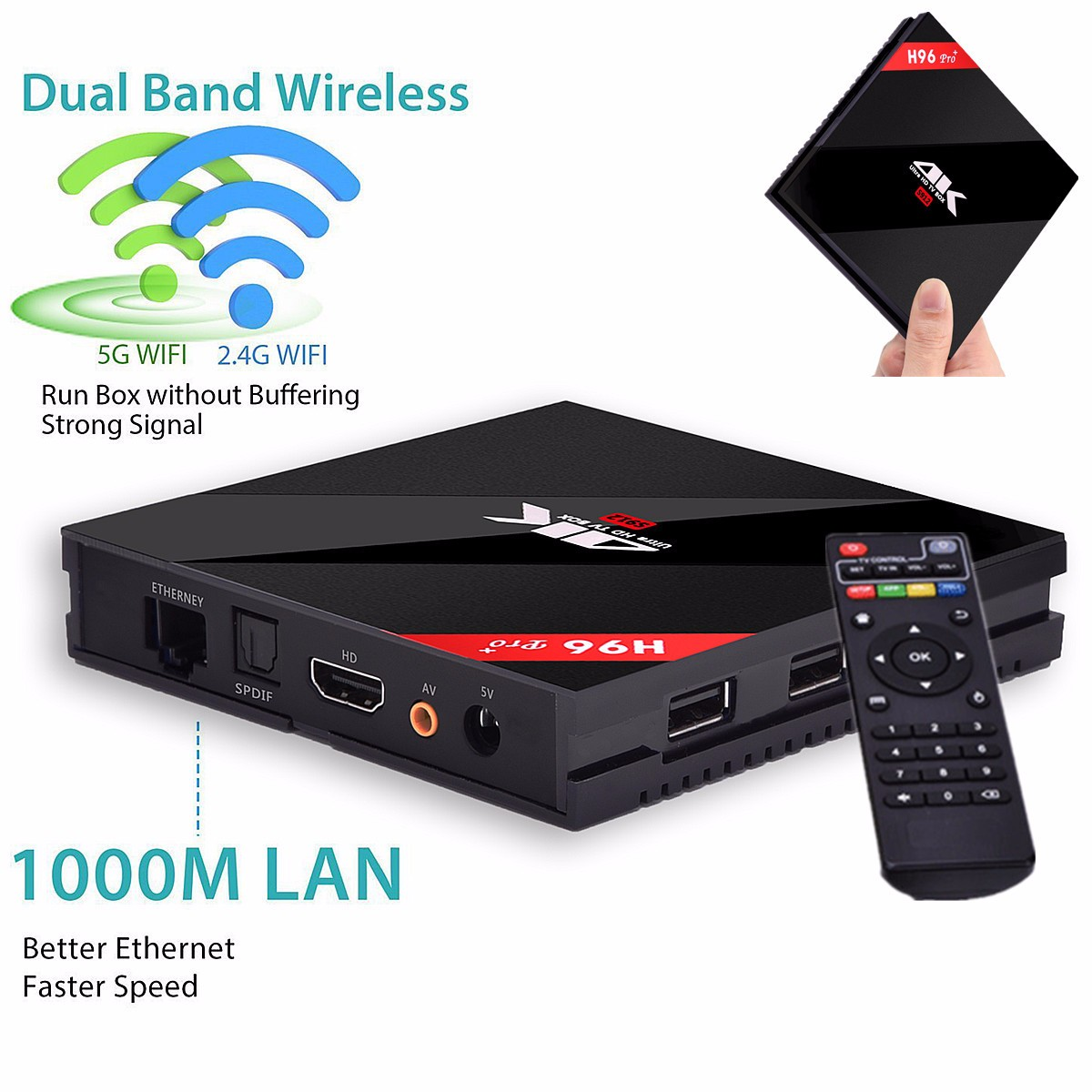 H96 PRO Android 6.0 Amlogic S912 Octa Core TV Box BT4.1 3G/32G soundvision Dual Wifi 4K Smart TV Box
