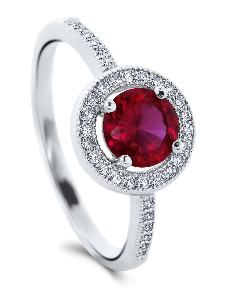 BERRICLE Rhodium Plated Sterling Silver Round Cut Cubic Zirconia CZ Halo Promise Ring Size 10