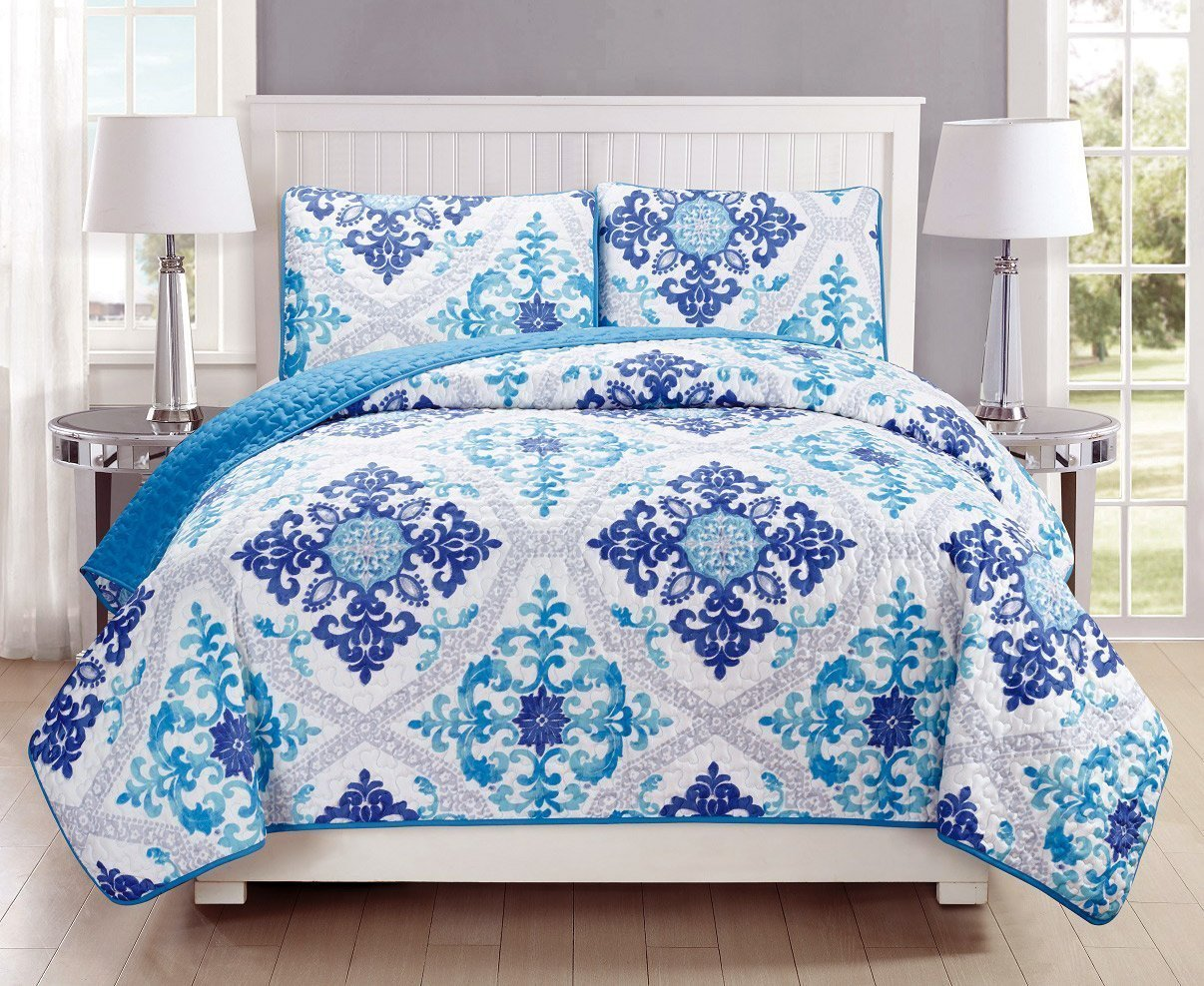 5-Piece Fine printed Chic Quilt Set Reversible Bedspread Coverlet FULL QUEEN SIZE Bed Cover Light Blue, Grey