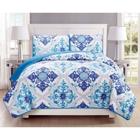 3-Piece Fine printed Quilt Set Reversible Bedspread Coverlet FULL / QUEEN SIZE Bed Cover (Turquoise, Blue, White, Grey, (4 Piece Blue Sparkle)