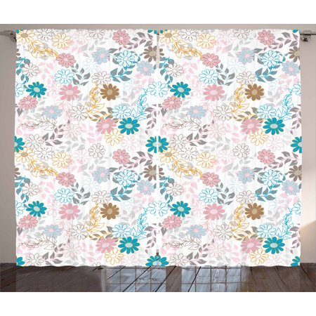 Contemporary Retro Palette - Floral Curtains 2 Panels Set, Cute Pastel Daisies and Leaves Blooming Retro Style Foliage Spring Color Palette, Window Drapes for Living Room Bedroom, 108W X 96L Inches, Multicolor, by Ambesonne