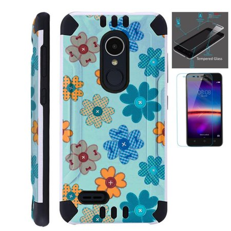 Black Glass Button Flower (For LG Stylo 3 Case / LG Stylo 3 Plus Case (2017) LS777 MP450 M430 + Tempered Glass Screen Protector / Slim Dual Layer Brushed Texture Armor Hybrid TPU KomBatGuard Phone Cover (Teal Button Flower))