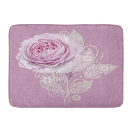 GODPOK Paisley Delicate Silver Leaves Made of Fine Lace and Pearls Jeweled Shiny Curls Thread from Beads Bud Rug Doormat Bath Mat 23.6x15.7 inch