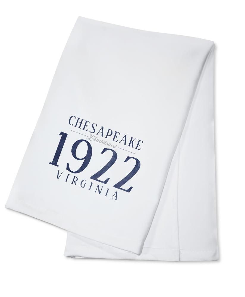 Chesapeake, Virginia Established Date (Blue) Lantern Press Artwork (100% Cotton Kitchen... by Lantern Press