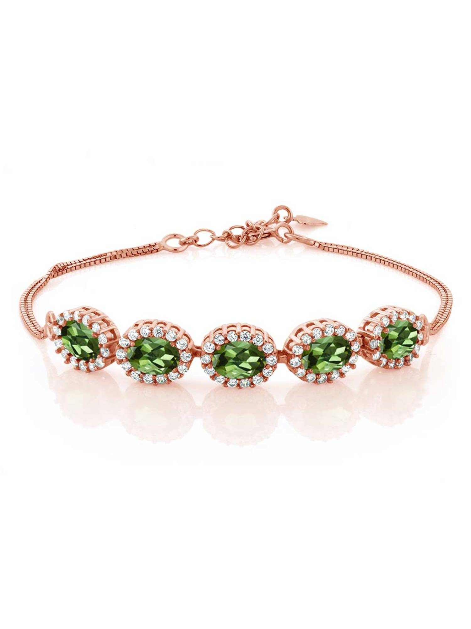 5.29 Ct Oval Green Tourmaline 18K Rose Gold Plated Silver Bracelet by