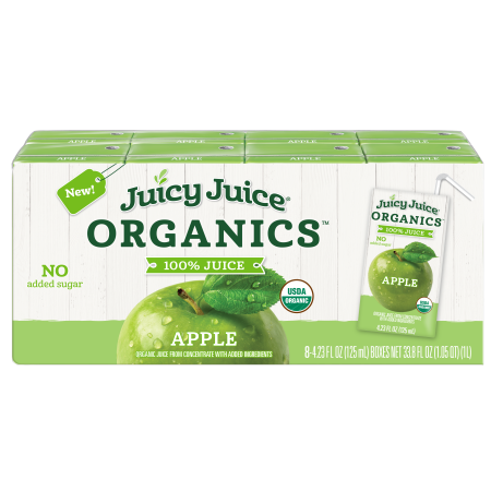 Juicy Juice 100% Organic Juice, Apple, 4.23 Fl Oz, 8 Count