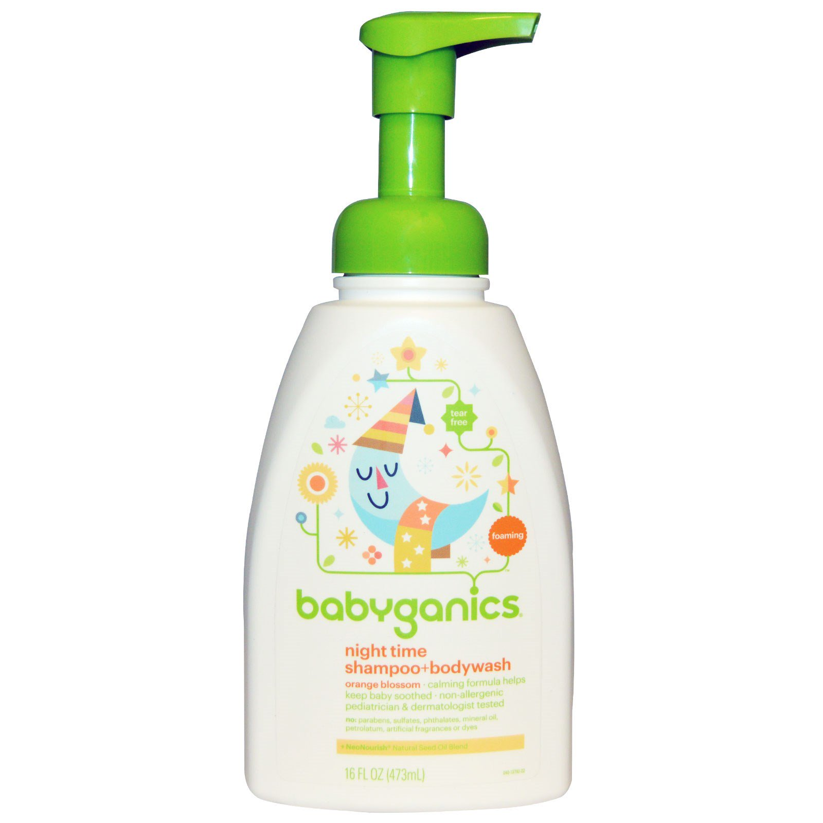 BabyGanics, Night Time Shampoo + Bodywash, Orange Blossom, 16 fl oz (pack of 6) by