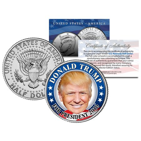 Campaign Coins (DONALD TRUMP FOR PRESIDENT 2016 Colorized JFK Half Dollar U.S. Coin CAMPAIGN )