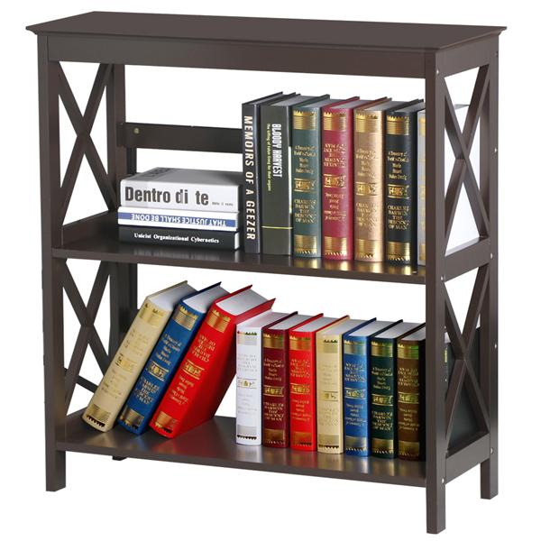 3 Tier Espresso Finish Wood Bookcase Bookshelf Display Rack Stand Storage Shelving Unit