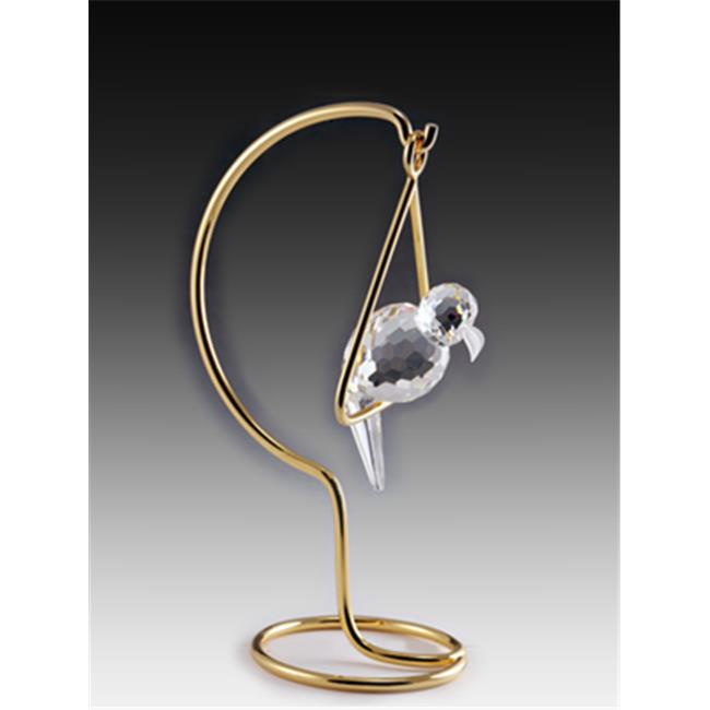 Asfour Crystal 606R 3.54 L x 6.29 H in. Crystal Parrot on Stand Birds Figurines
