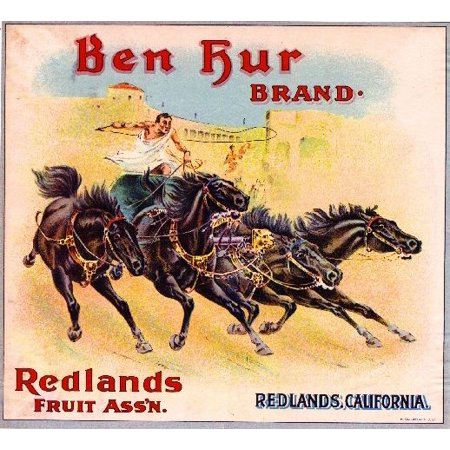 Redlands Ben Hur #1 Roman Empire Chariot Orange Citrus Fruit Crate Label Print