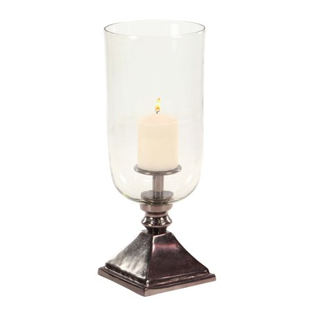 Decmode 18 Inch Modern Aluminum and Glass Bronze Votive Hurricane Candle Holder, (Bronze Hurricane)