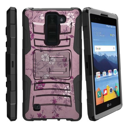 LG K8V and VS500 Miniturtle® Clip Armor Dual Layer Case Rugged Exterior with Built in Kickstand + Holster - Small Purple Flower