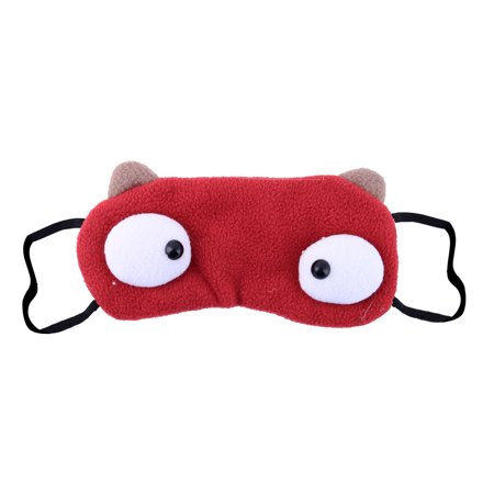 Cartoon Pattern Light Blocking Eye Shade Sleeping Mask Burgundy 21cm Long