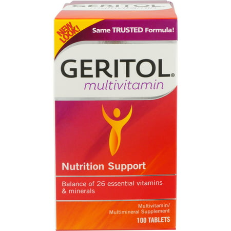 Geritol Multivitamin Nutrition Support, Balance of 26 essential vitamins & minerals, 100