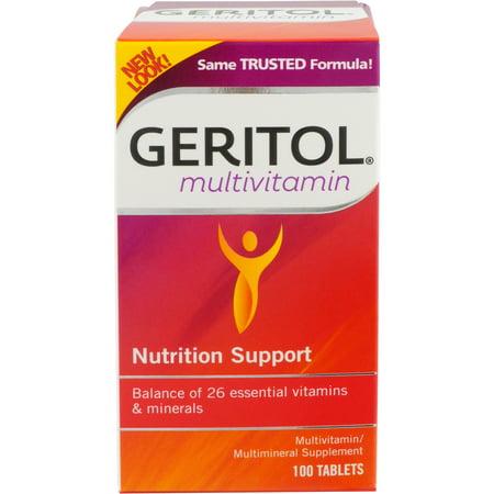 Microflora Balance - Geritol Multivitamin Nutrition Support, Balance of 26 essential vitamins & minerals, 100 tablets